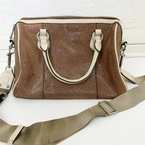 Judith Ripka Brown Pebbled Leather Crossbody Purse